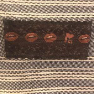 NWOT Private Arts Black Lace Bandeau w/ Kiss, S